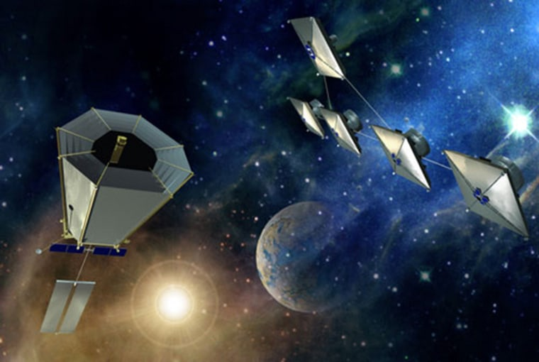 Image: Artist's concepts of Terrestral Planet Finder-Coronograph (left) and Terrestrial Planet Finder-Interferometer missions.