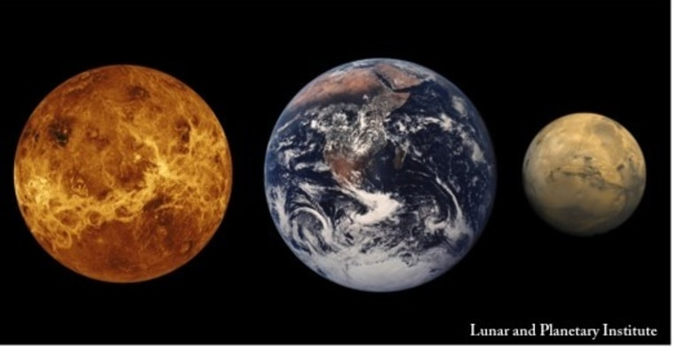 A comparison of the sizes of planets Venus, left, Earth and Mars.
