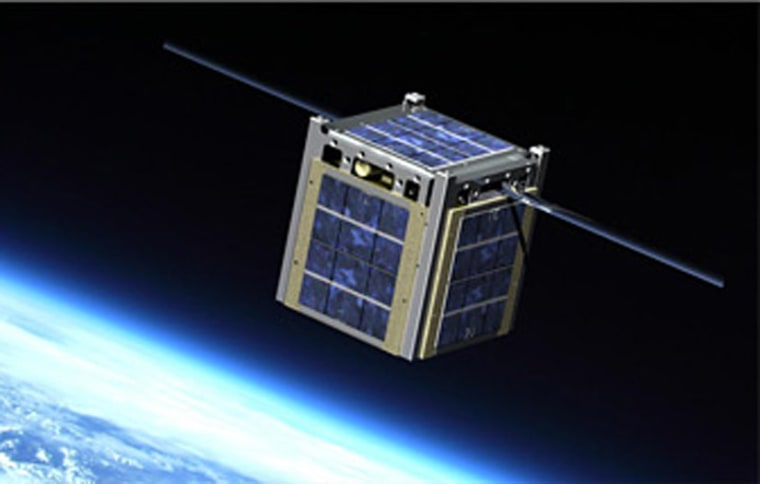 An artist concept of a CubeSat in space. CubeSats are tiny, fully functional satellites that the military is interested in using to find terrorists.