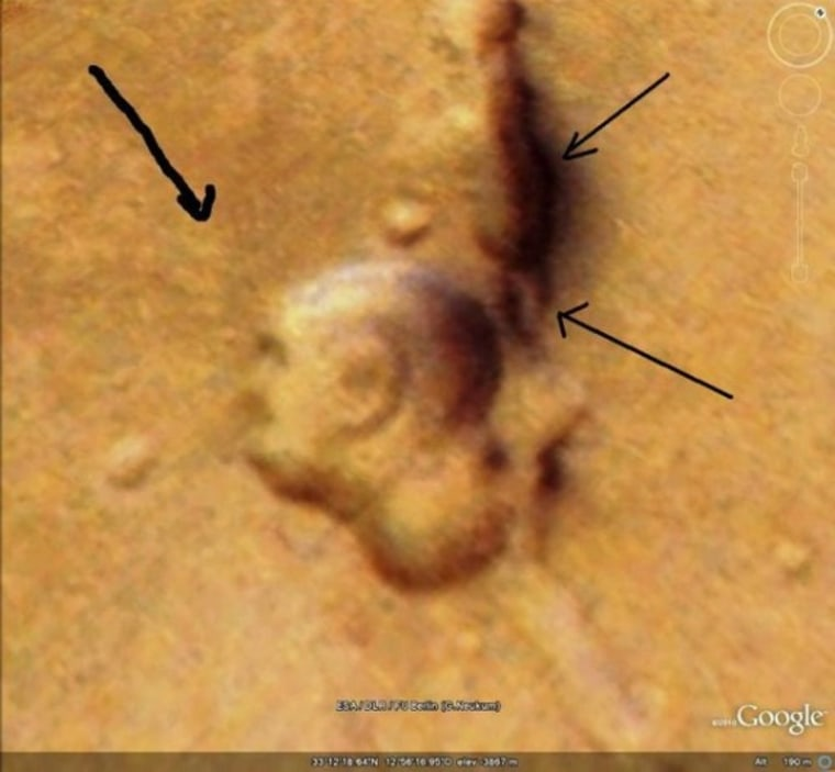 Image: A Martian surface feature that one man says looks like the profile of Mahatma Gandhi.