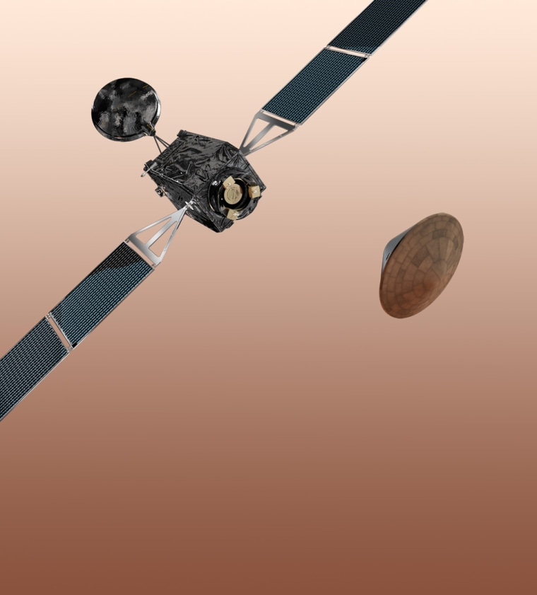 An artist's concept of the ExoMars 2016 spacecraft, which consists of the Trace Gas Orbiter and the Entry, descent and landing Demonstrator Module (EDM).