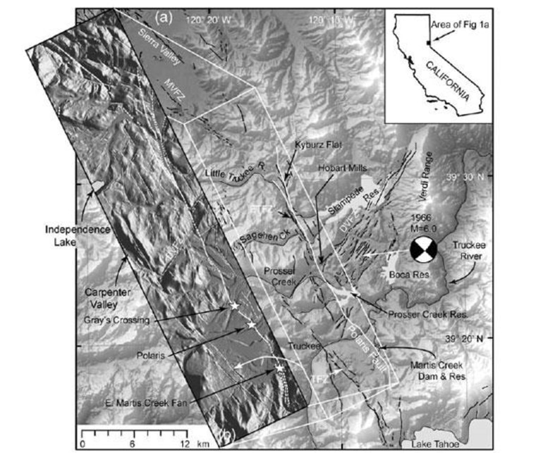 This regional map shows the location of the Polaris Fault and selected regional faults from the U.S. Geological Survey. The inset topographic map shows high-resolution airborne LiDAR imagery, with the Polaris fault shown as a bold white line.