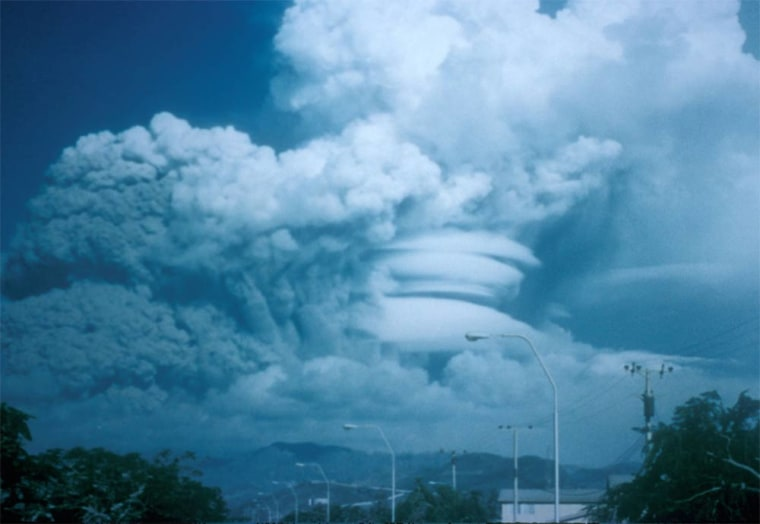 On June 15, 1991,Mount Pinatubo in the Philippines blew its top in the second-largest volcanic eruption of this century. The eruption caused high-speed avalanches of hot ash and gas (pyroclastic flows), giant mudflows (lahars), and a cloud of volcanic ash that spanned hundreds of miles across.