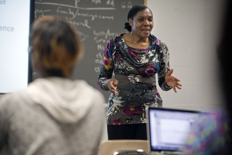 Image: Marie Rose Mukeni-Beya presents a lesson on family during an Adolescent and Youth Psychology course at City College of New York in the Harlem Neighborhood of New York City