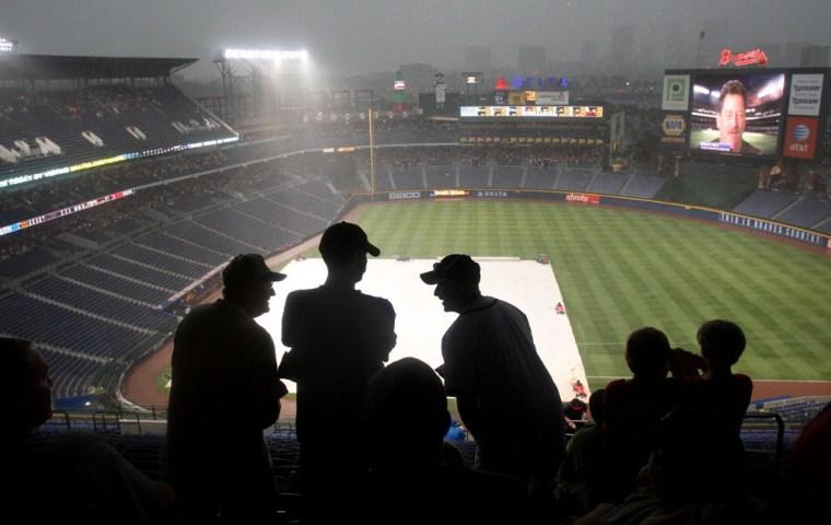 Image: Rain falls on Turner Field
