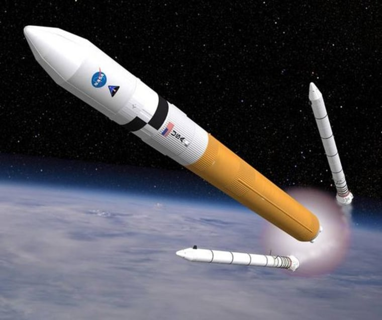 Artist's rendering: rocket with boosters