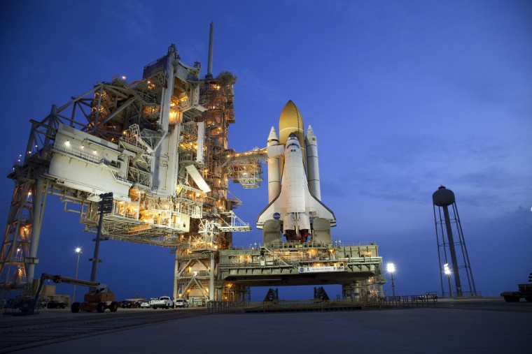 Space shuttle Atlantis stands on Launch Pad 39A at NASA's Kennedy Space Center in Florida, where it is set to liftoff on STS-135, the final shuttle mission, on July 8.