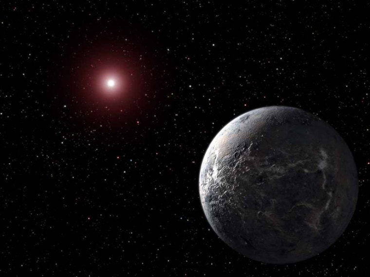 An artist's impression of a small rocky exoplanet orbiting a distant star. Microlensing allows astronomers to detect such hard-to-find worlds.