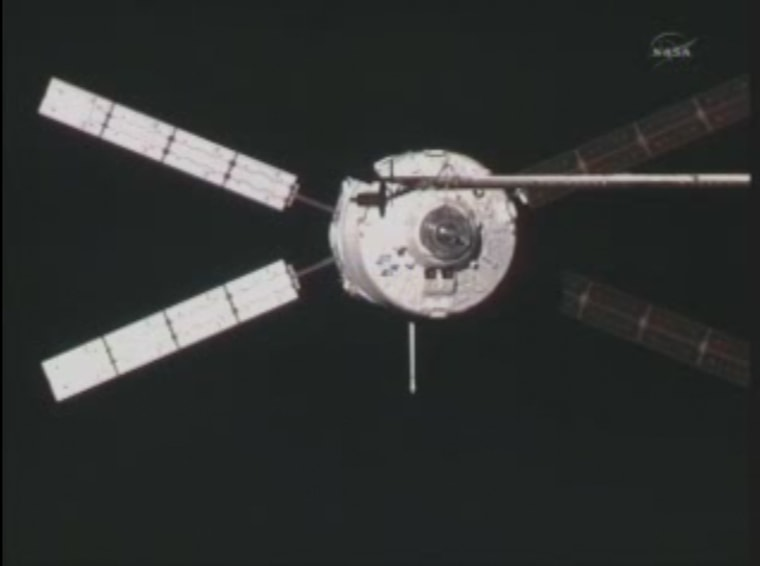 The ESA's ATV-2 Johannes Kepler is shown docking at the International Space Station on Feb. 24. It delivered 7 tons of cargo, including experiments, fuel, water, food and other supplies. Now it ispacked with trash and unneeded cargo that will be intentionally destroyed along with the vehicle when it re-enters Earth's atmosphere.