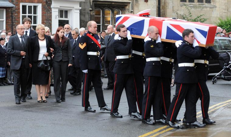 The funeral of British Royal Marine David Hart in July 2010.