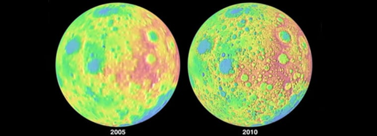 This image shows a comparison of the detail of a 2005 global moon elevation map, left, and one generated by the Lunar Reconnaissance Orbiter in 2010. NASA released this image on Tuesday.