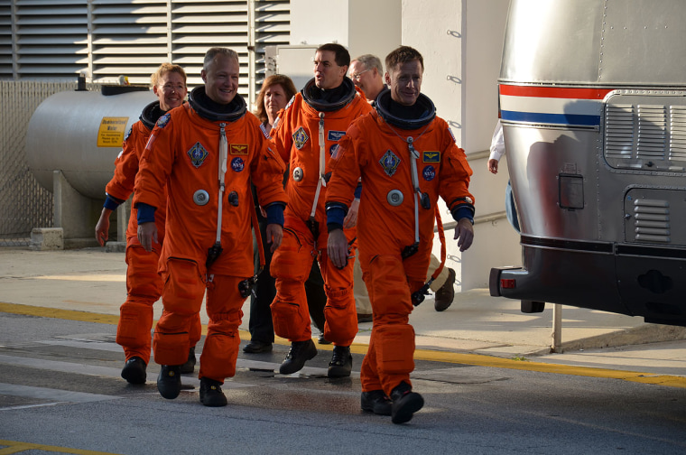 The four astronauts on shuttle Atlantis' final mission, the STS-135 flight, conducted a dress rehearsal for their July liftoff on Thursday.