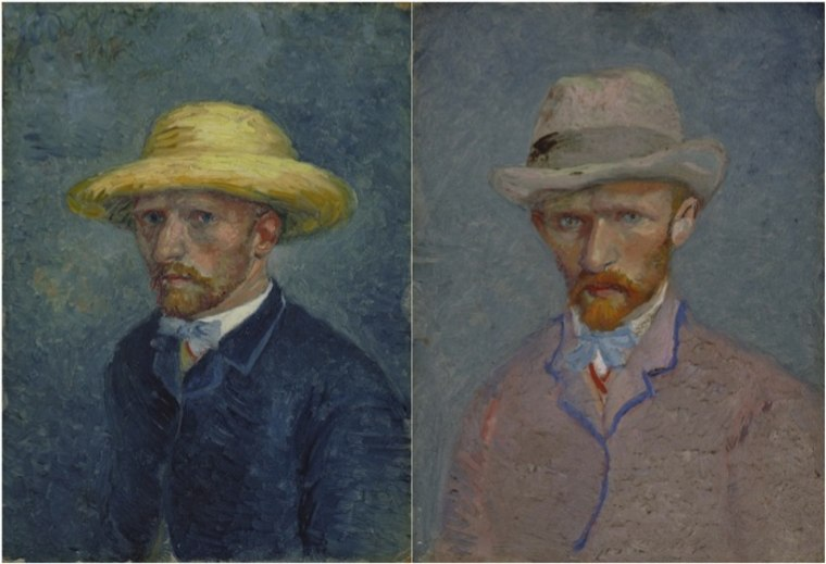 In these two portraits, the right painting is one of the artist, Vincent van Gogh, and the left is of his brother and staunchest ally, Theo.