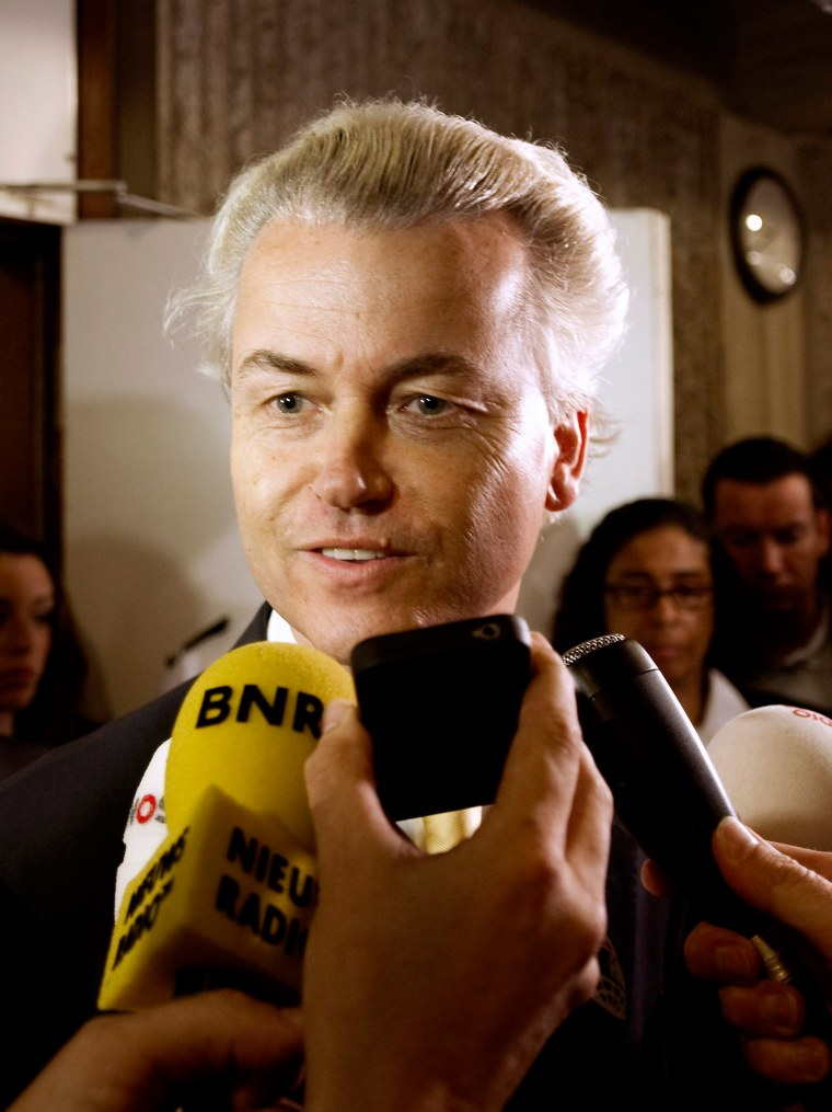 Image: Dutch right-wing politician Geert Wilders of the Freedom Party talks to the media in Amsterdam