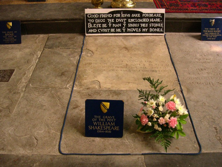 William Shakespeare's final resting place in Holy Trinity Church, Stratford-upon-Avon.