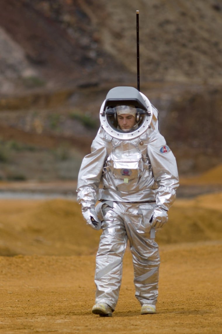 Aouda.X, a spacesuit mockup, was tested with the Long Term Medical Survey System (LTMS) in Mars-like terrain of Spain's Rio Tinto in April. The suit was developed by the Austrian Space Forum.