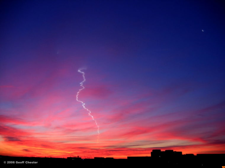 Image: A rocket launch on the Wallops Island in December 2006 leaves a wispy contrail in the sky.