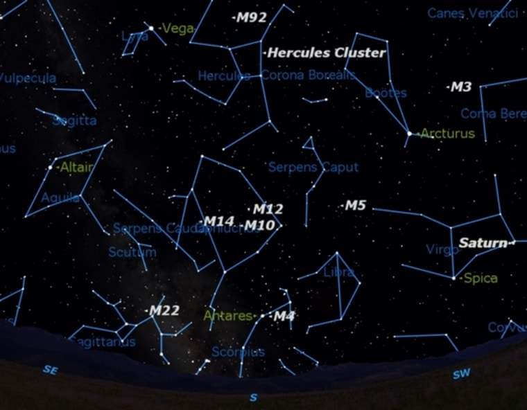 By the time the sky gets fully dark around 11:30 p.m. local time in late June, nine of the finest globular clusters in the sky will be on display. Those star clusters are shown here with constellation guides.