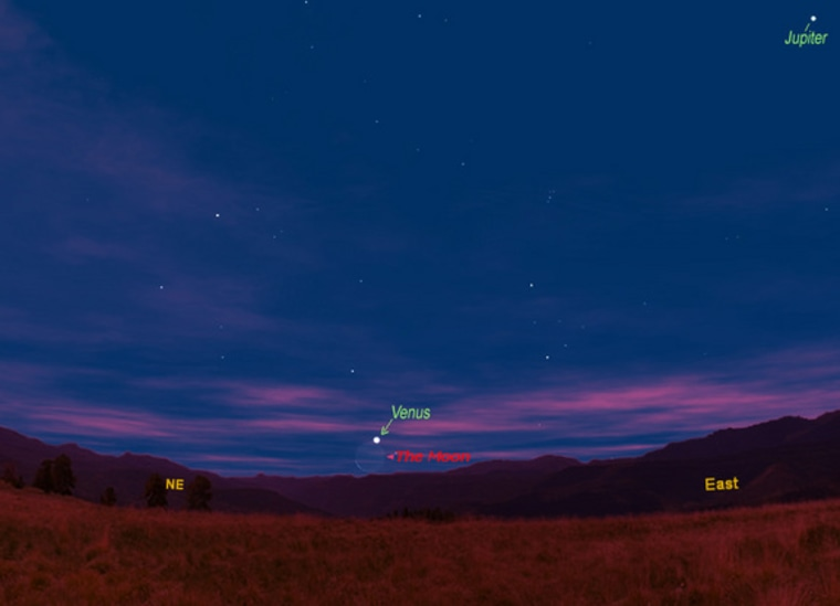 This sky shows the moon and planet Venus will appear together on Thursday as viewed from midnorthern latitudes. Jupiter's position is also shown.