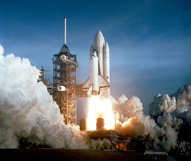 Columbia lifts off on the first space shuttle mission ever, STS-1, on April 12, 1981.