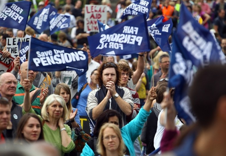 Public sector workers take part in a march onThursday in Bristol, England.