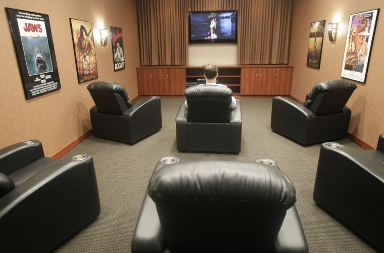 It's always movie night at the home theater setup at the Performance Lexus dealership in Cincinnati, Ohio.
