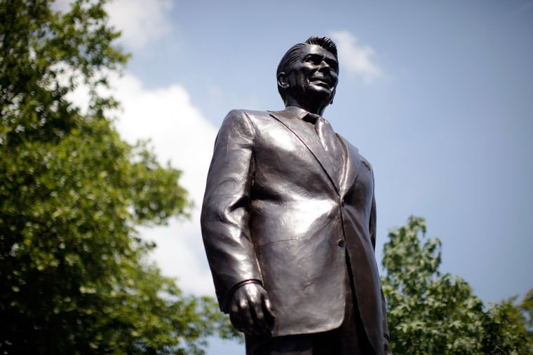 Image: A statue of former U.S. President Ronald Reagan is unveiled in the grounds of the American Embassy in London