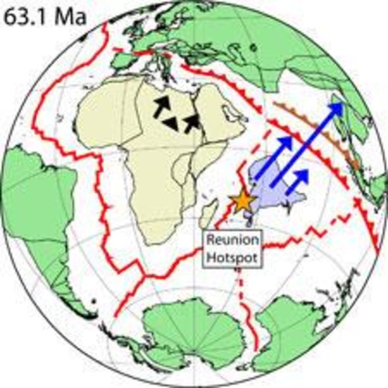 Reconstruction of the Indo-Atlantic Ocean 63 million years ago, during the time of the superfast motion of India that Scripps scientists attribute to the force of the Reunion plume head. Arrows show the convergence rate of Africa (black arrows) and India (dark blue) relative to Eurasia before, during and after (left to right) the period of maximum plume head force. Jagged red and brown lines northeast of India show two possible trench positionsbetween India and Eurasia depending on whether collision was 52 million years ago or 43 million years ago.