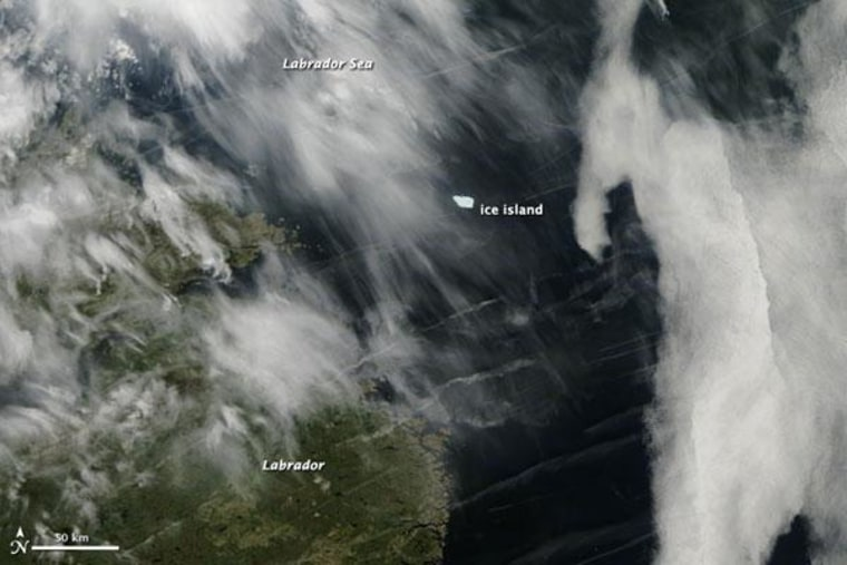 NASA's Aqua satellite captured an image of the ice chunk in the Labrador Sea on June 25.