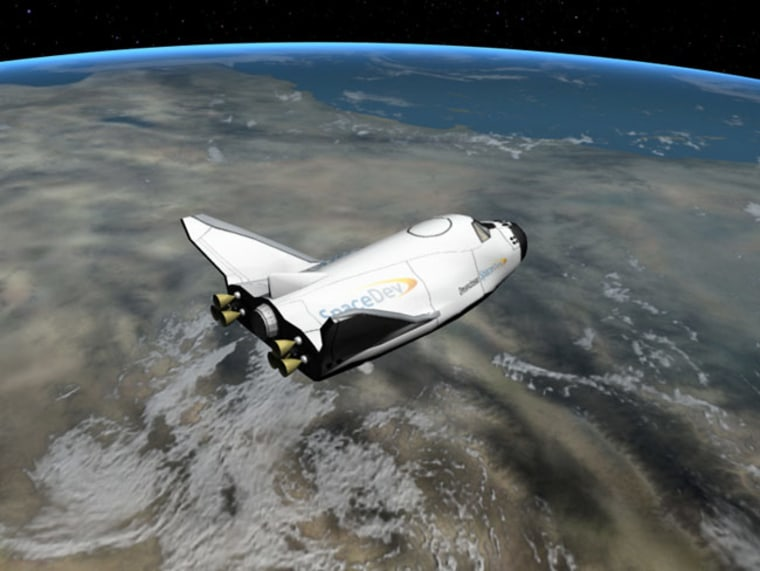 An artist's interpretation of the Dream Chaser vehicle after spacecraft separation.