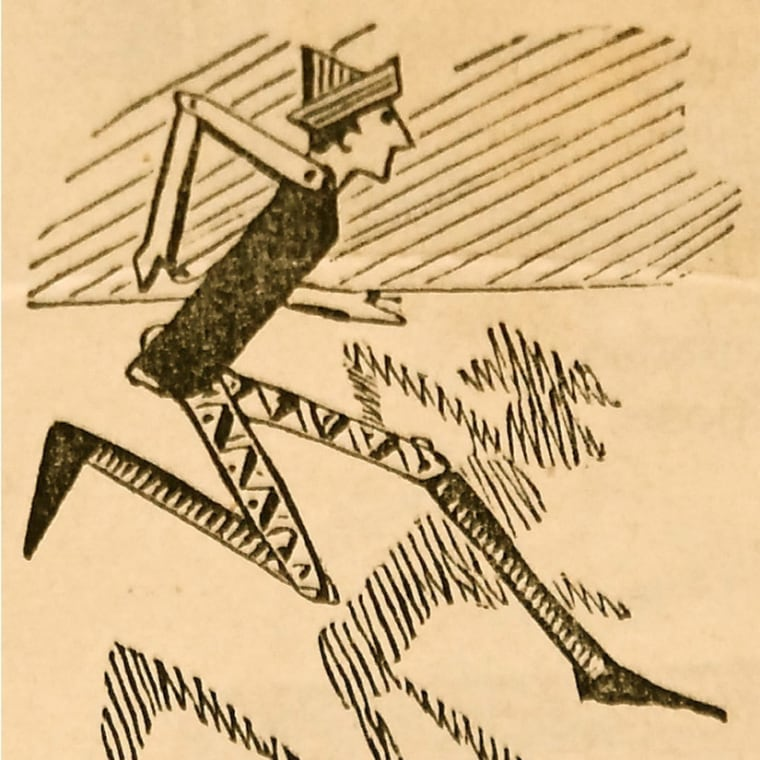 Pinocchio, as the puppet appeared (without the long nose) in the serialized version of the story published in 1881.