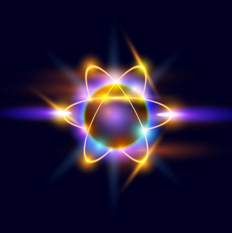 An atom is made up of a nucleus of protons and neutrons, with electrons orbiting around them.