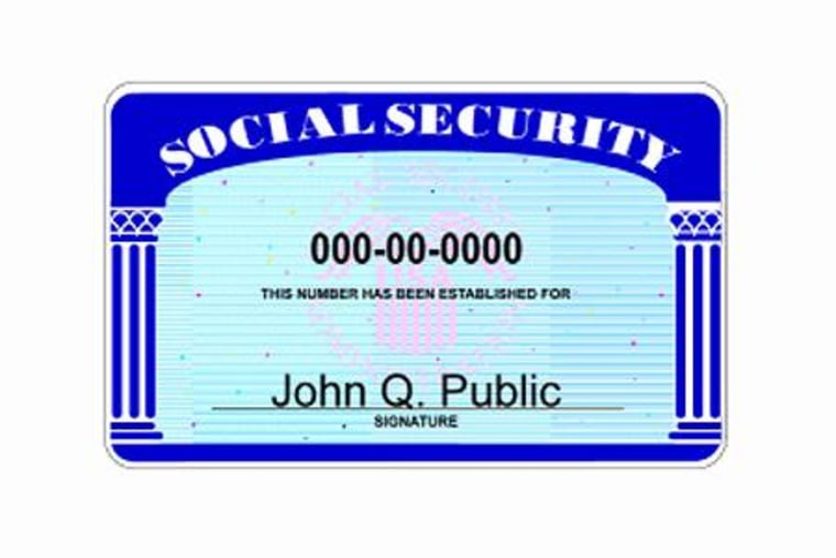 A prototype Social Security card. Don't let your number fall into the wrong hands.