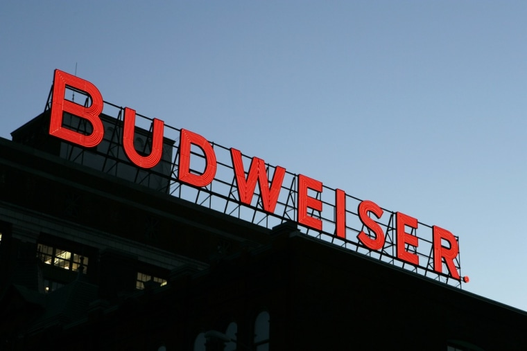 Image: A Budweiser sign is seen atop one of the buildings at the Anhueser-Busch brewery