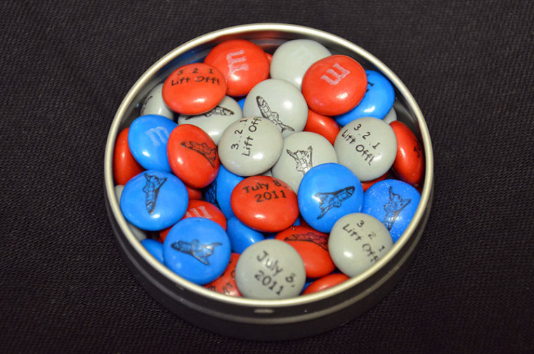 These shuttle-themed M&M's were presented to members of the final launch team and astronaut crew for NASA's STS-135 mission.