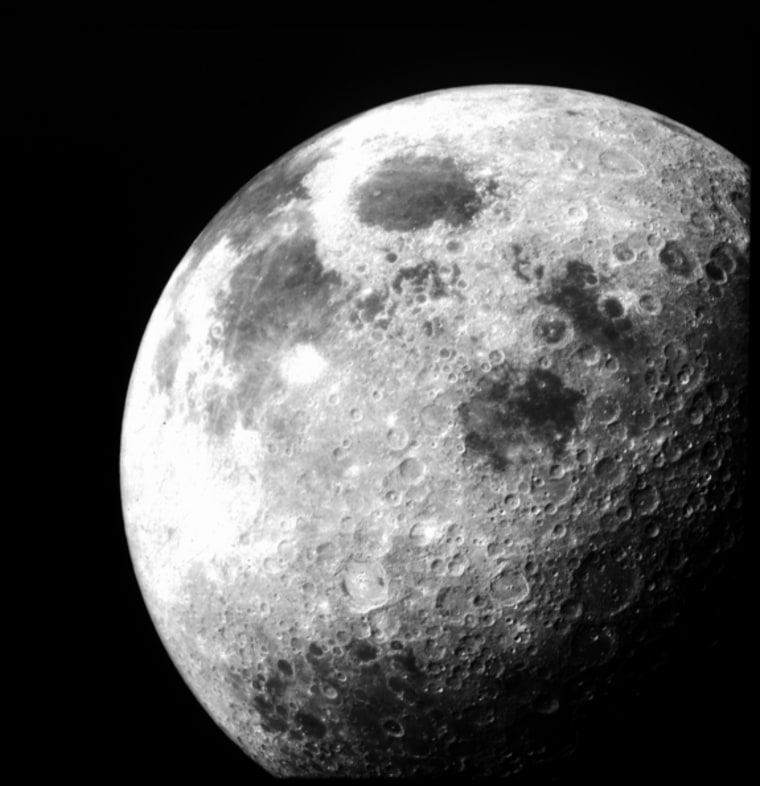 A 1969 image of the moon taken during the Apollo 12 lunar mission.