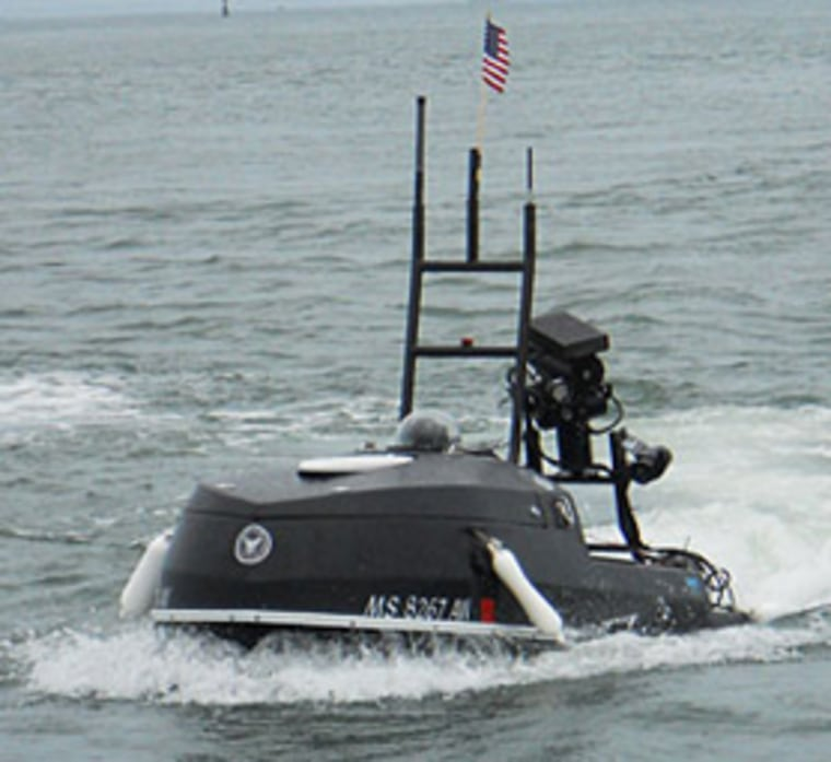 To build Blackfish, engineers sawed off the top half of an existing jet ski and added sensor packages for underwater sonar, surface radar and a video camera.