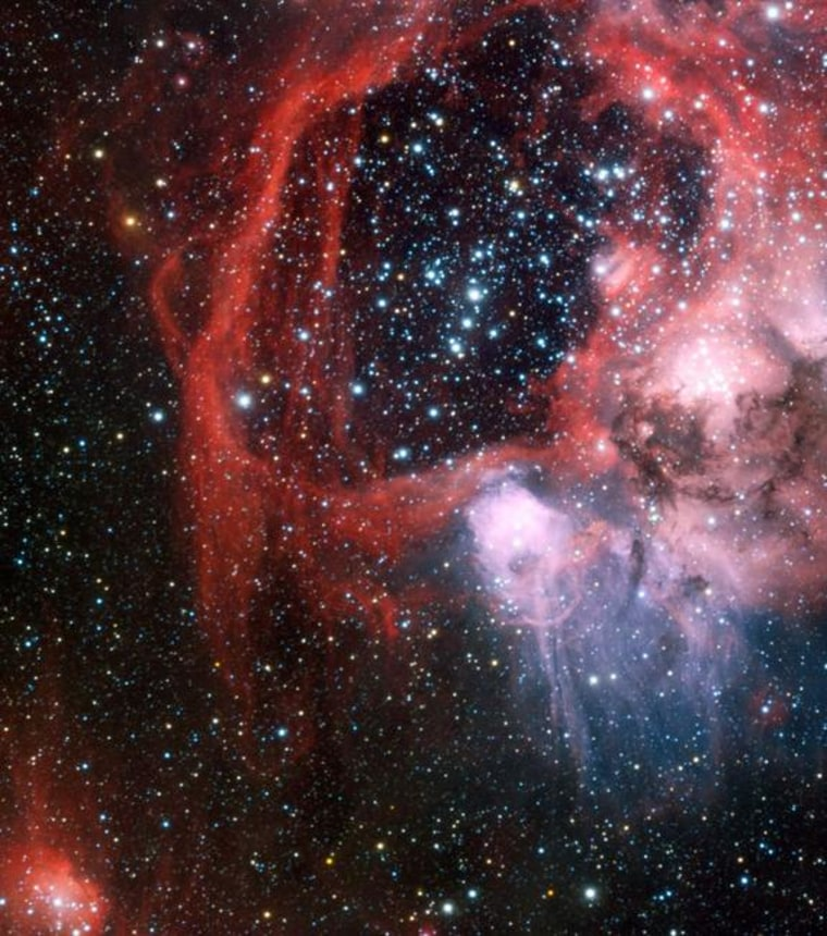 The European Southern Observatory's Very Large Telescope was used to obtain this view of the nebula LHA 120-N 44 surrounding the star cluster NGC 1929.