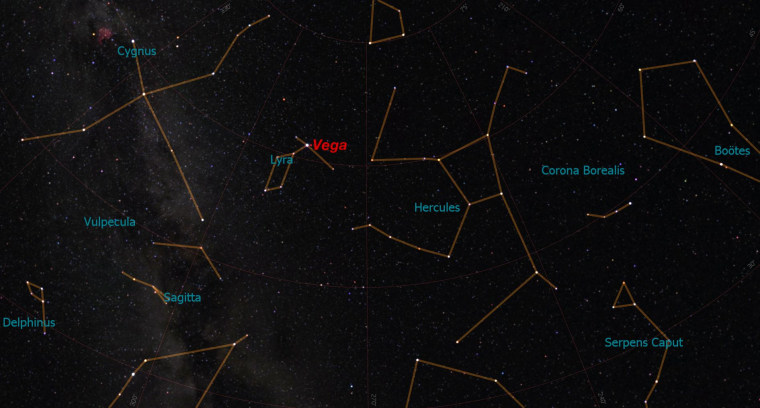 Look directly overhead to find the star Vega in the constellation Lyra. North is at the top of this sky map.