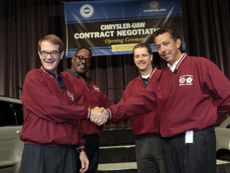 Image: King, Garberding, Holiefield and Al lacobelli attend opening ceremonies of the Chrysler UAW Contract Negotiations in Auburn Hills