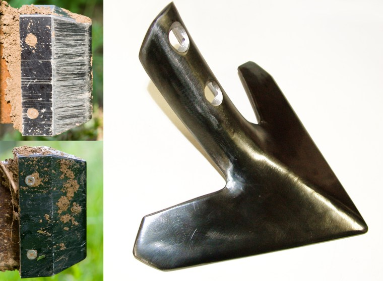Left: Experimental diamond-like carbon tools after use. Initial test results are at the top, improved coatings are shown at the bottom. Right: A diamond-like carbon coated plowshare for test purposes.