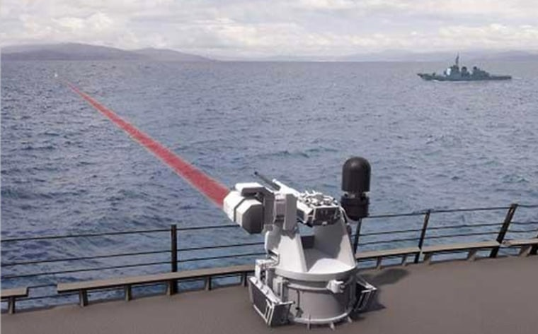 Artist's photo illustration of a ship-to-ship laser