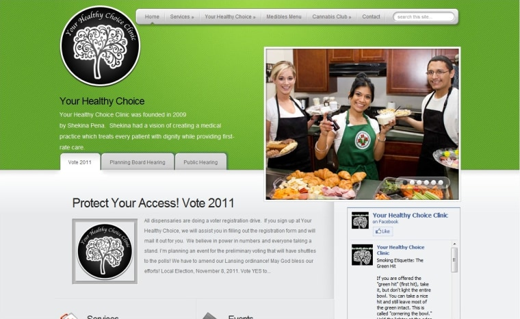 Image: Homepage of medical pot clinic's website