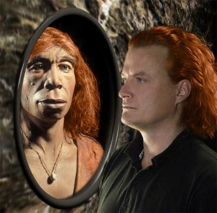 Photo illustration of red haired neanderthal and modern man
