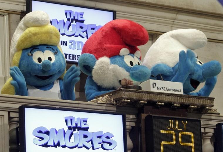Image: Smurfette, Papa Smurf, Clumsy Smurf