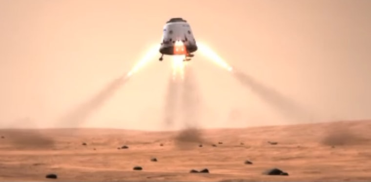 This still photo from a SpaceX mission concept video shows a Dragon space capsule landing on the surface of Mars. SpaceX's Dragon is a privately built space capsule to carry unmanned payloads, and eventually astronauts, into space.