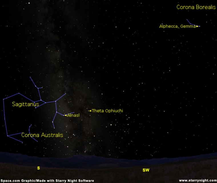 The stars of Sagittarius as of 10:30 p.m. local time from midnorthern latitudes.