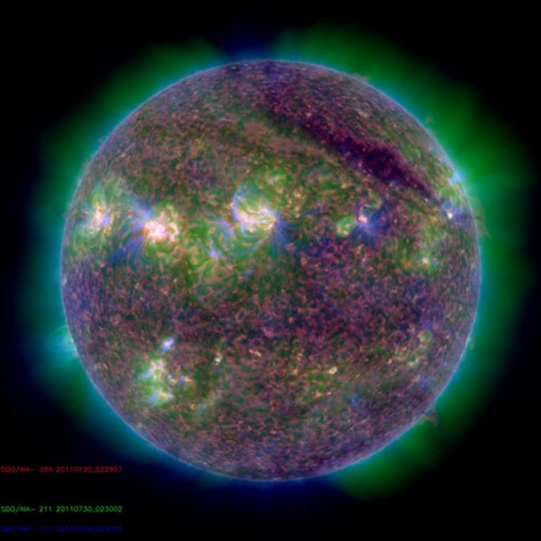 A powerful M9-class solar flare erupted from the sun at 10:09 p.m. EDT on Friday.