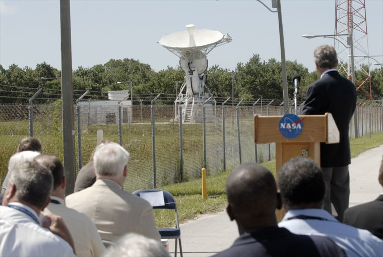At NASA's Merritt Island Launch Annex (MILA) tracking station, a 30-foot antenna was slewed for the last time during a closing ceremony on July 28.