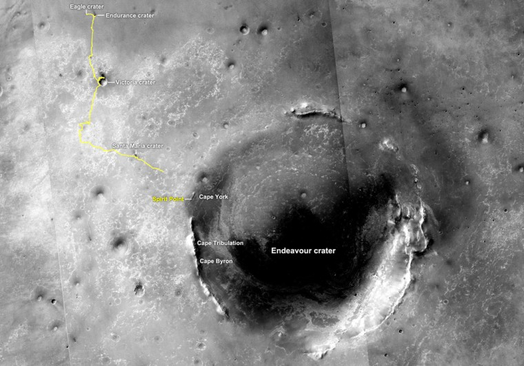 The yellow line on this map shows whereOpportunity had driven, as of June 2011, after landing on Mars in January 2004.